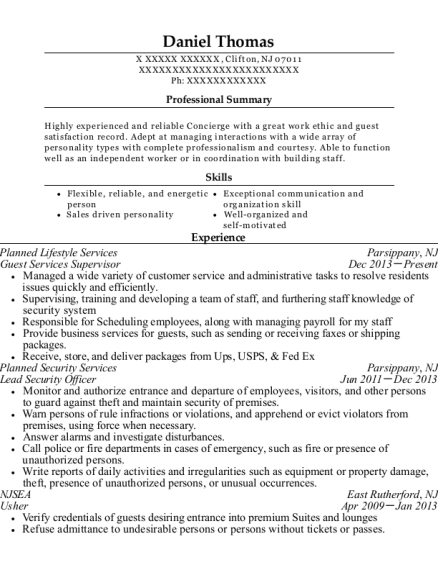 Guest Services Supervisor resume template New Jersey