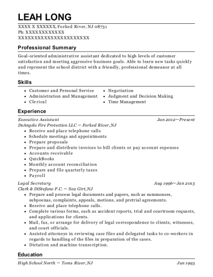 Executive Assistant resume template New Jersey