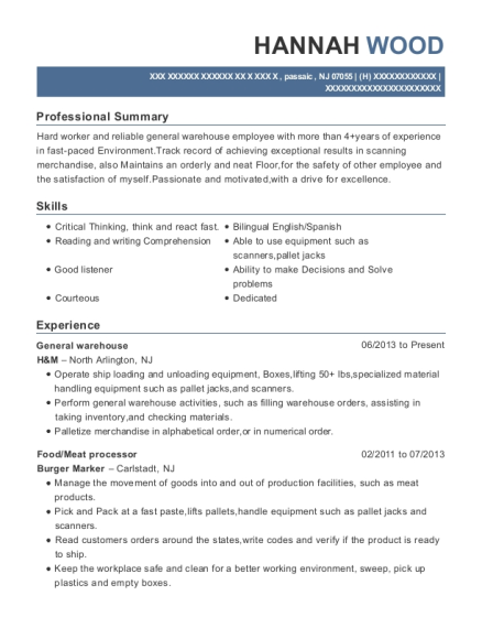 General warehouse resume format New Jersey