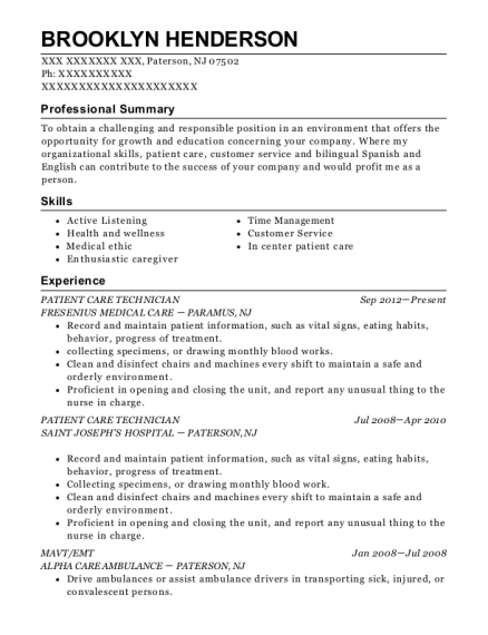 Patient Care Technician resume format New Jersey