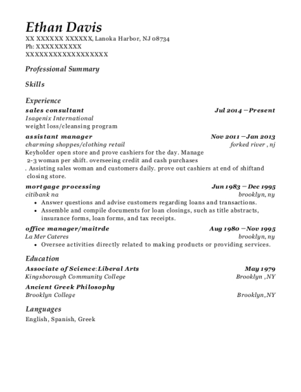Sales Consultant resume template New Jersey