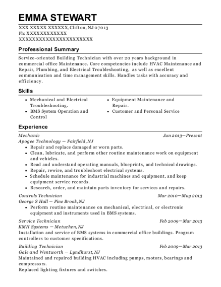 Mechanic resume example New Jersey