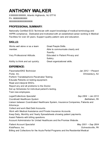 Pacemaker resume sample New Jersey