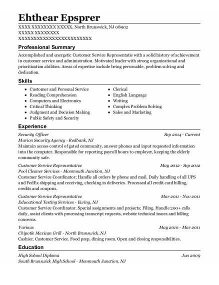 Security Officer resume example New Jersey