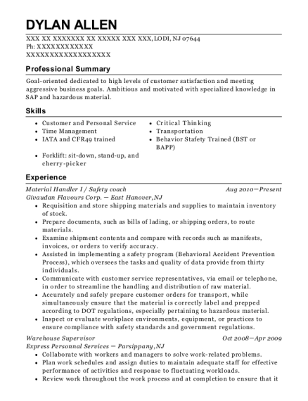 Material Handler I resume template New Jersey