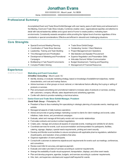 Marketing and Event Consultant resume template New Jersey