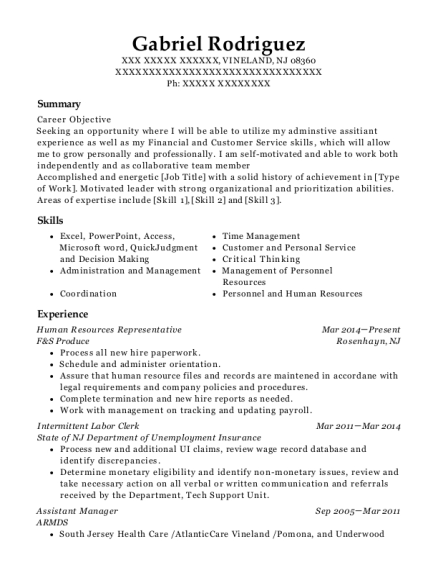 Human Resources Representative resume format New Jersey