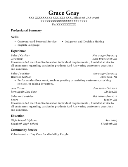 Sales resume format New Jersey