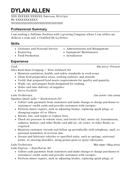 Cook resume example New Jersey