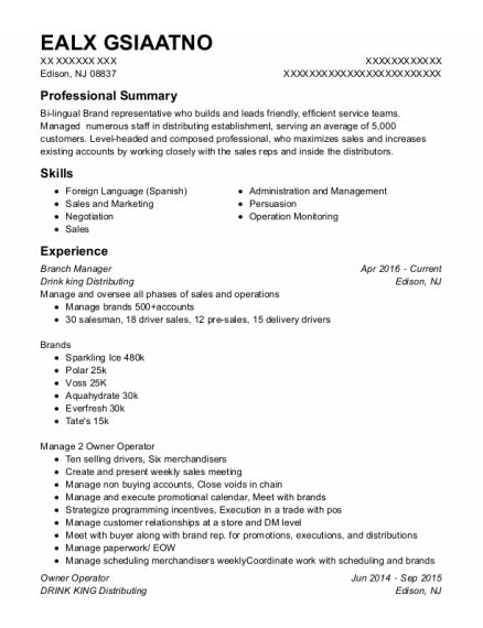 Branch Manager resume format New Jersey
