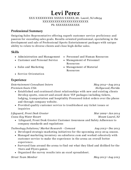 Entertainment Consultant Intern resume format New Jersey