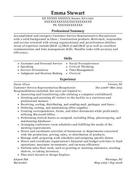 Customer Service Representative resume template New Jersey