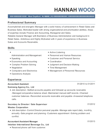 Accountant Assistant resume sample New Jersey