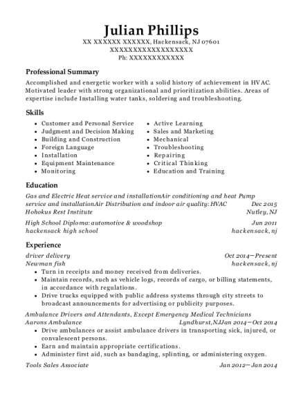 driver delivery resume sample New Jersey