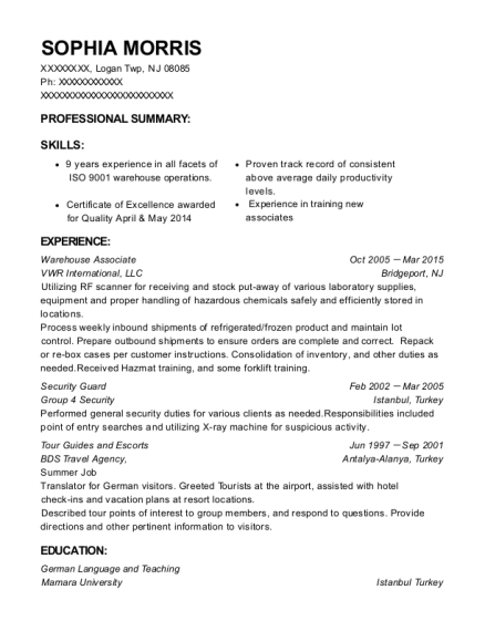Warehouse Associate resume format New Jersey
