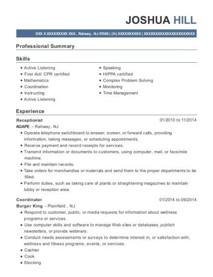 Receptionist resume format New Jersey