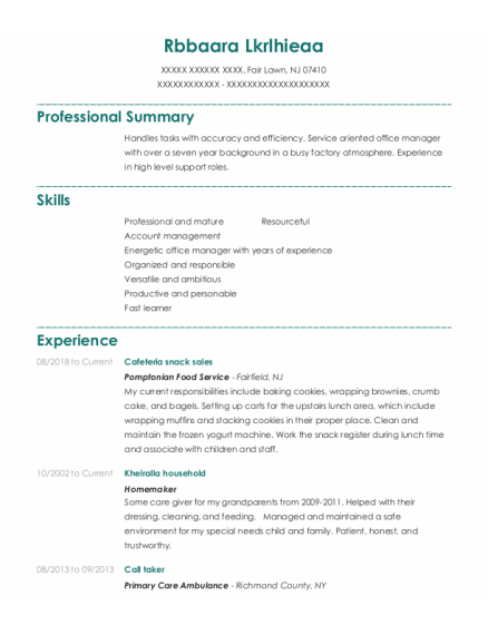 Call Taker resume template New Jersey