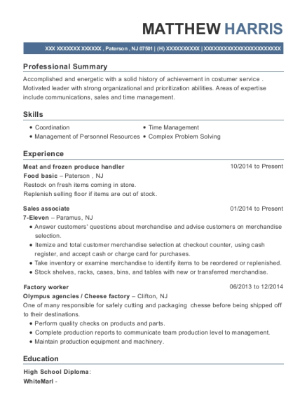 Meat and frozen produce handler resume format New Jersey