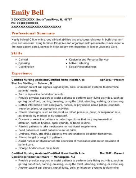 Certified Nursing Assistant resume example New Jersey