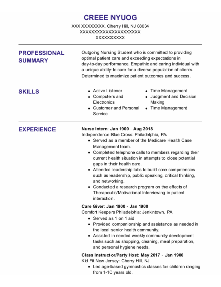 Nurse Intern resume format New Jersey