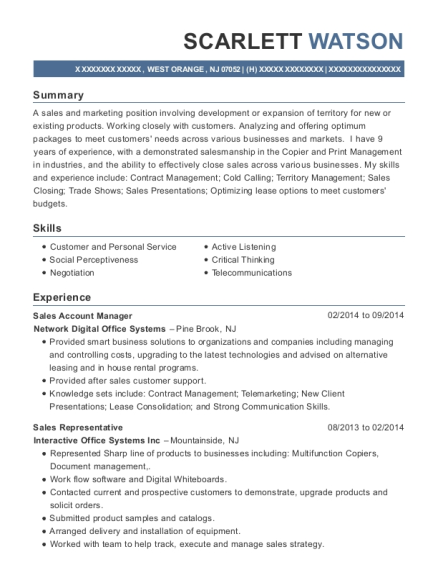 Sales Account Manager resume sample New Jersey