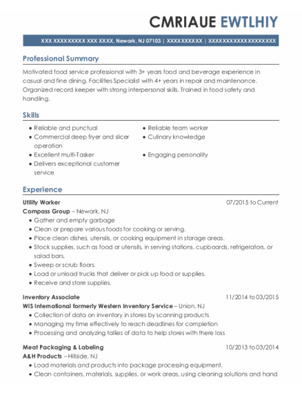 Utility Worker resume format New Jersey