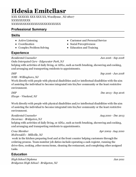 Dsp resume sample New Jersey
