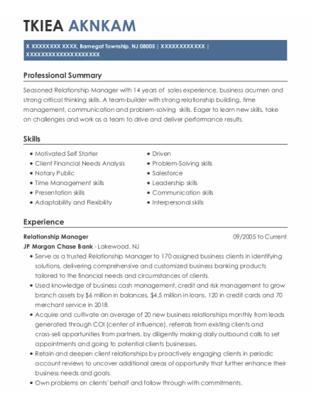 Relationship Manager resume example New Jersey