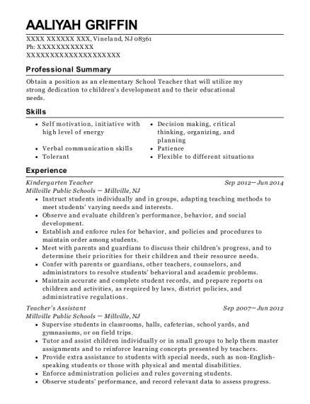 Kindergarten Teacher resume example New Jersey