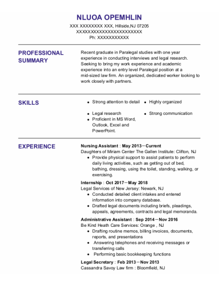 Nursing Assistant resume example New Jersey