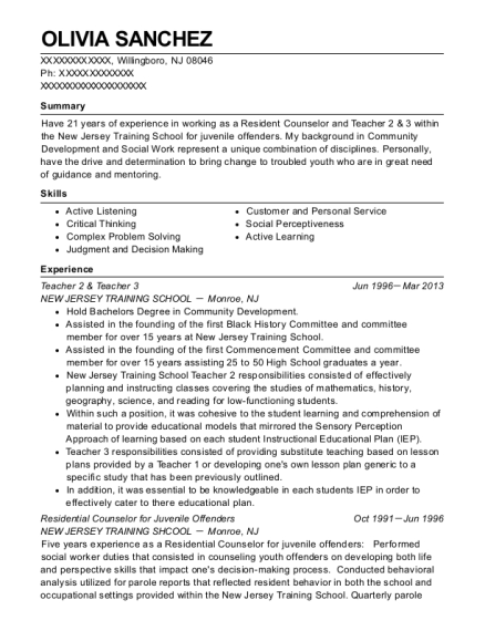 Teacher 2 & Teacher 3 resume template New Jersey