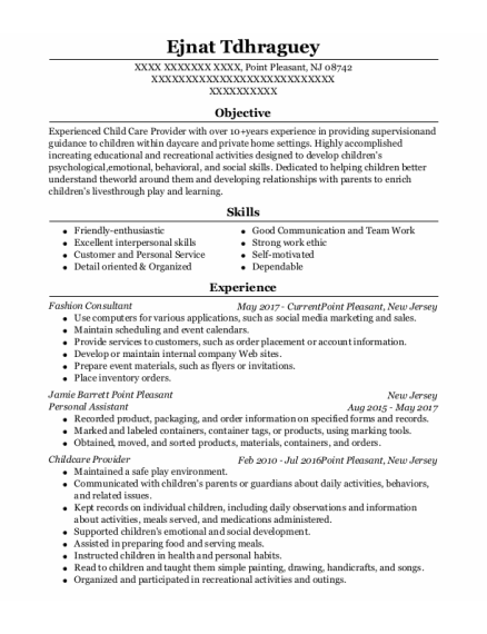 Personal Assistant resume template New Jersey