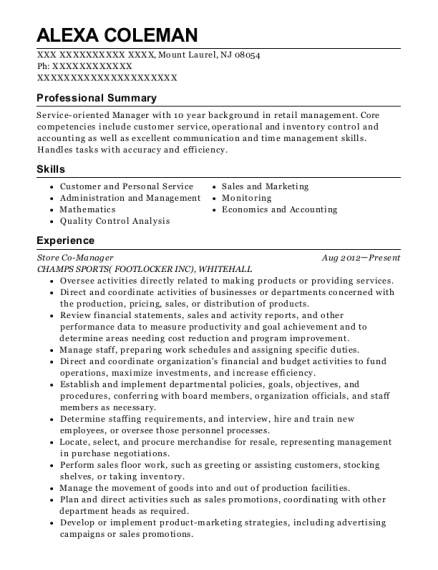 Store Co Manager resume sample New Jersey