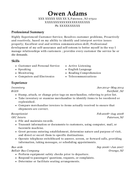 Inventory resume example New Jersey
