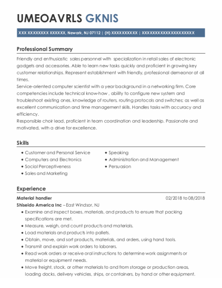 Material Handler resume template New Jersey