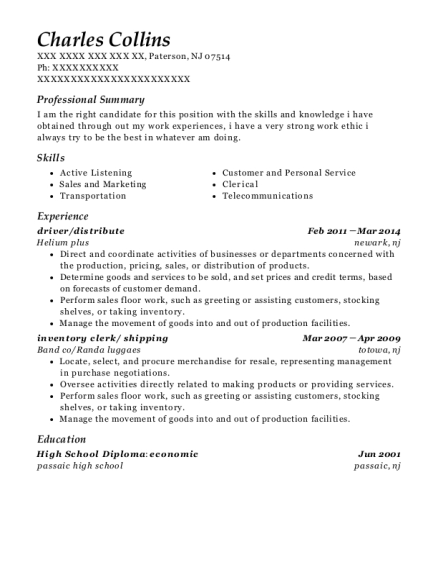 driver resume template New Jersey