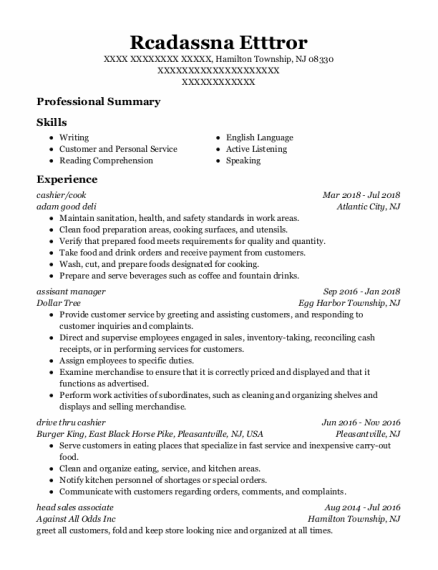 Cashier resume template New Jersey