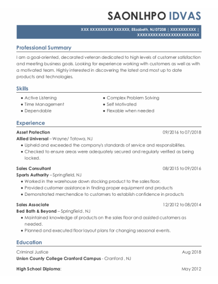 Asset Protection resume template New Jersey