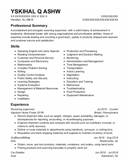 Receiving Supervisor resume format New Jersey