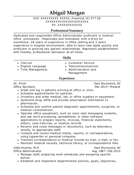 Office Secretary resume sample New Jersey
