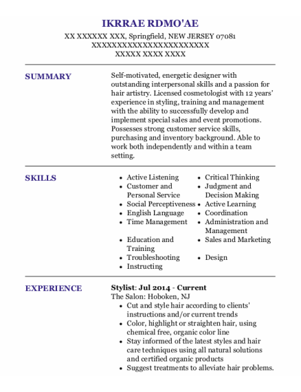 Stylist resume example NEW JERSEY
