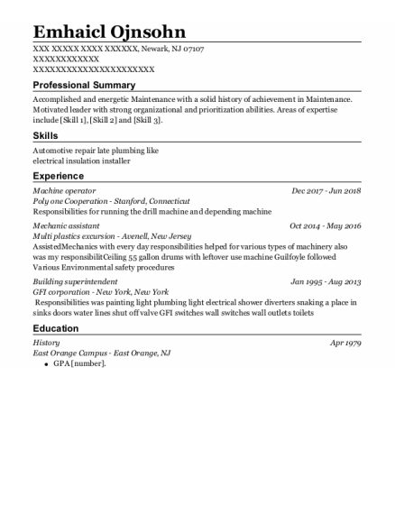 Machine Operator resume format New Jersey