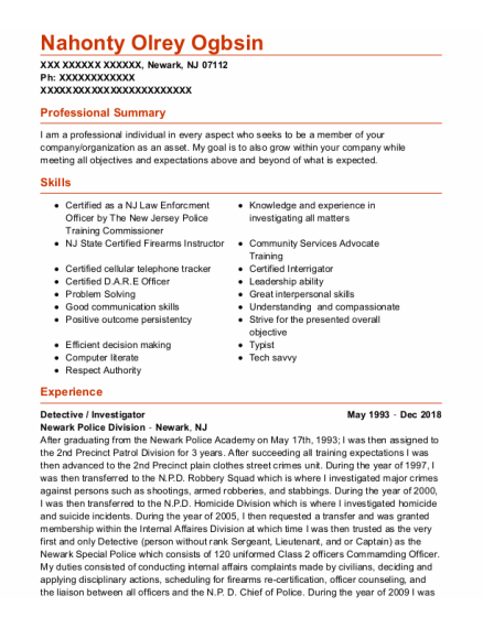 Detective resume example New Jersey