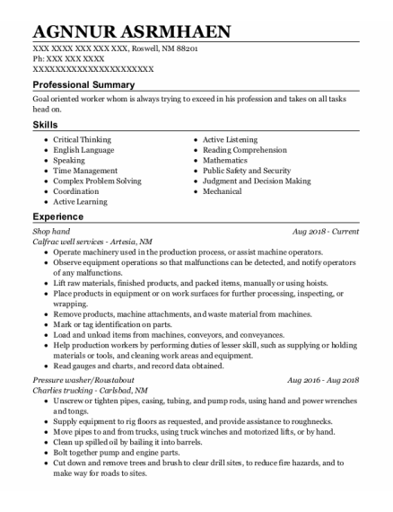Shop Hand resume example New Mexico