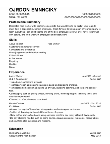Labor Worker resume template New Mexico