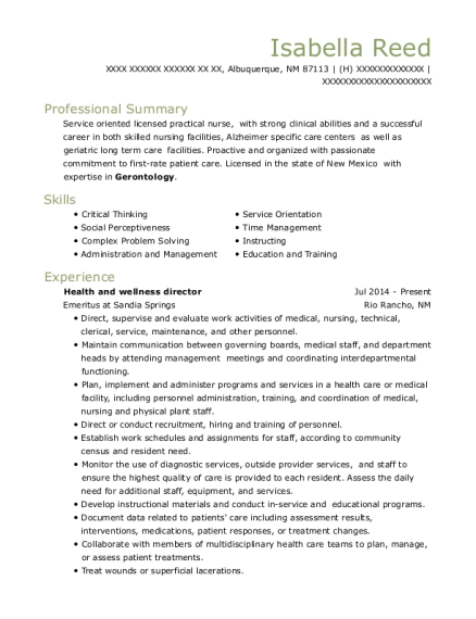 Health and wellness director resume sample New Mexico