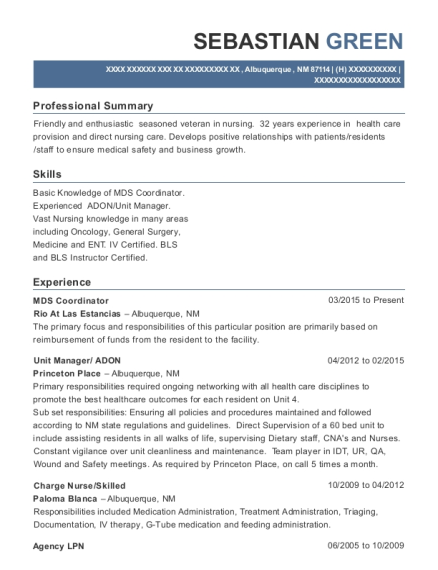 MDS Coordinator resume example New Mexico