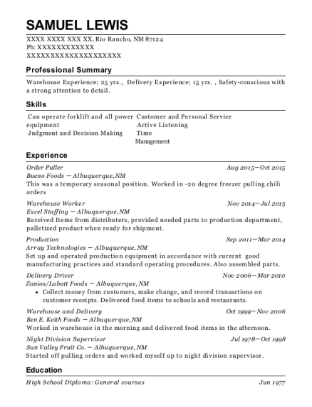 Order Puller resume sample New Mexico
