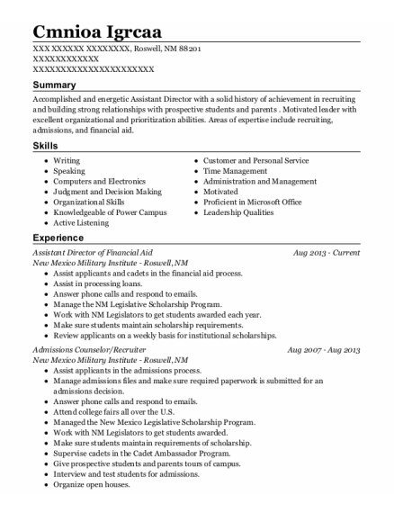 Assistant Director of Financial Aid resume example New Mexico