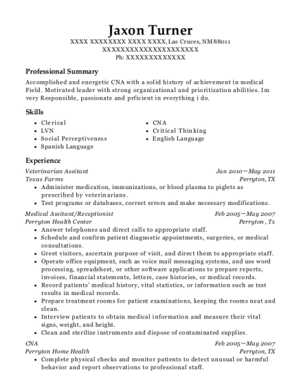 Veterinarian Assitant resume sample New Mexico